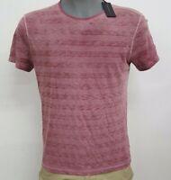John Varvatos U.S.A. Red Heather Stripe S/S Men's Crew Shirt NWT $88 Choose Sz