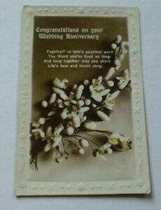 U160 Congratulations On Your WEDDING ANNIVERSARY Regent Postcard 1920s