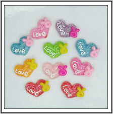 Love Heart W' Ribbon ~ 10 Pack ~ 20 x 14 mm ~ Gypsy Bling ~ Free Shipping