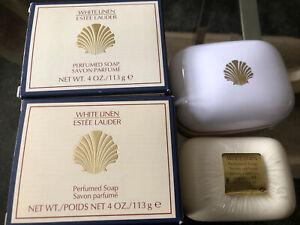 2 X Vintage Estee Lauder White Linen Perfumed Soaps still Sealed/Boxed New 113g