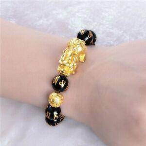 Feng Shui Obsidian Stone Beads Bracelet Men Women Unisex