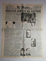 N1033 La Une Du Journal Le Matin 15 mai 1924 résultats complets élections