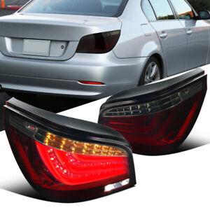 For BMW 08-10 E60 5-Series Sedan Red Smoke Neon LED Bar Tinted Tail Brake Lights