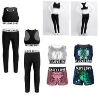 2PCS Kids Girls Athletic Outfit Ballet Hip Hop Jazz Dance Gymnastics Workout Set