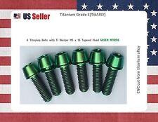 M5 x 16mm Titanium Bolt Taper Head / Ti Bolt 6 pcs - GREEN GR5 for stems