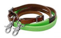 Showman 7' MEDIUM Leather Barrel Reins w/ LIME GREEN Rubber Grip! NEW HORSE TACK