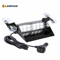 12W White LED Strobe Warning Dash Lights for Emergency Vehicles Cars Trucks