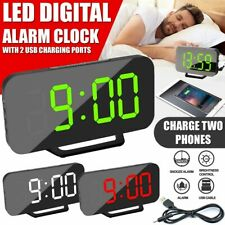 Mirror LED Alarm Clock Night Light Digital Clock  Thermometer with USB Charging