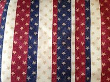 Patty Reed Primitive Heart of America Glittered Patriotic Cotton Fabric by YARD