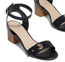 Ladies Oasis Stacked Mid Heel Womens Ankle Strap Evening Party Open Toe Shoe