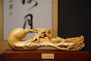 36 cm Chinese Lobular boxwood wood Handwork auspicious ginseng Ruyi sculpture
