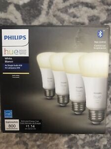 Philips Hue 476977 White A19 LED Smart Bulb 4-Pack