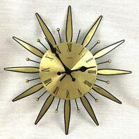 Vintage Orologio da Parete Sunburst Mid Century Moderno Sun Burst 1970s