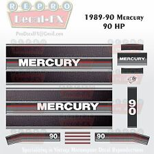 1989-90 Mercury 90HP Outboard Reproduction 21Pc Decals, Leather look stripes