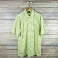NIKE GOLF Men's Dri Fit Short Sleeve Polo Shirt L Large Yellow Striped