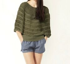 Greylin Army Olive Green Cape Style Blouson Ribbon Weave Sweater Career Top S