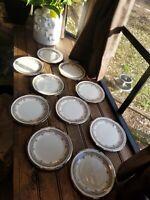 "Set of 4 Lenox China Lace Point Pattern Platinum Trim Bread & Butter Plates 6"""