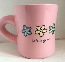 "Life is Good PINK W/ FLOWERS Coffee Cup Mug ""Do what you like, Like what you do"""