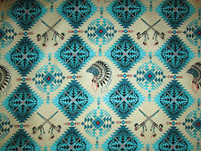 Native American Indian Headdress Peace Pipe Teal Cotton Fabric BTHY