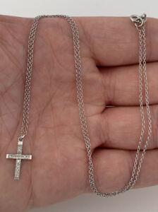9ct Gold Diamond Cross Pendant On Chain, 9k 375