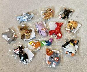 12 Ty Teenie Beanie Babies McDonald's Happy Meal toys full set UK 1999 packaged