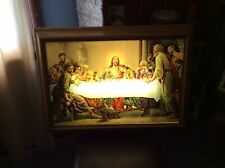 Beautiful Vintage Large Backlighted Last Supper Picture Jesus & 12 Apostles