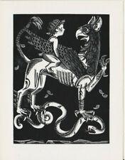 Mark F. Severin (B) 1906-1987 Griffon Snake Wood Engraving X2 not Exlibris