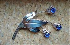 Vintage Art Deco Sterling Silver Blue Rhinestone Flower Pin Brooch great example