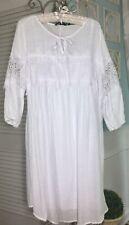 NEW ~ Plus Size 3X 1X White Lace Crochet  Tie Peasant Dress