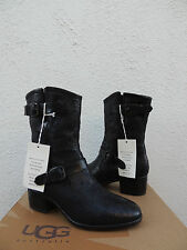 UGG COLLECTION NERO CONCHETTA WEAVE LEATHER/ SHEEPSKIN BOOTS, US 8.5/ 39.5  ~NEW
