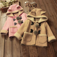 Baby Girl Toddler Kids Suede Warm Winter Velvet Coat Jacket Hooded Tops Overcoat