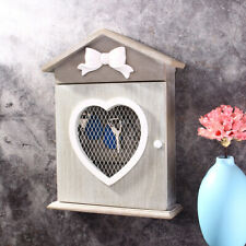 Wooden Heart Key Storage Box Cabinet House Wall Mounted Key Holder with 6