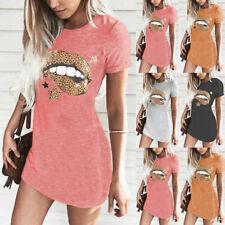 Womens Short Sleeve Mini Dress Long T-Shirt Ladies Summer Dress Top Dress Ceng