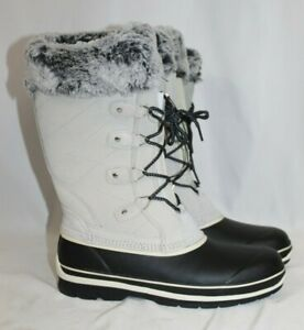 NEW Khombu Emily Grey Suede Leather Faux Fur Winter Snow Boot Waterproof Sz 8