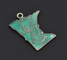 Vintage Minnesota Green Enamel Charm Sterling Silver State Shape Map Outline