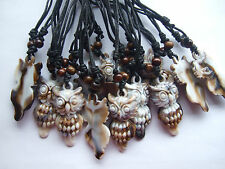 Wholesale 10pcs Wax Cotton Cord Resin Owl Pendant Necklace