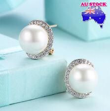 18K Gold Filled 12MM White Pearl Zircon Stud Earrings Vintage OZ Free Shipping