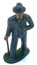 Antique Vintage Manoil Barclay Métal Figurine Homme Avec Canne #619