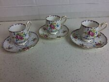 3 Royal Albert PETIT POINT Pattern China Demitasse Cup & Saucers
