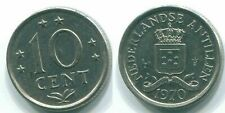 1970 NETHERLANDS ANTILLES 10 CENTS Nickel Colonial Coin #S13374D