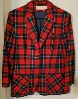 Vintage Women's Pendleton Virgin Wool Tartan Plaid Blazer Jacket 14