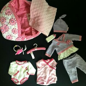 Lot American Girl Bitty Baby Clothes Quilted Pink Purple Fabric Carrier Bed MORE