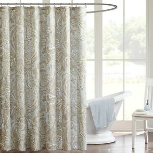 "1 - Luxury Soft Blue & Taupe Paisley Print Cotton Shower Curtain - 72"" x 72"""