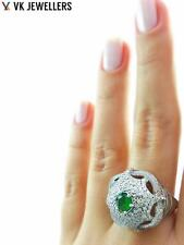TURKISH JEWELRY UNIQUE WHITE GOLD PLATED 925 STERLING EMERALD RING SIZE 8 R2079