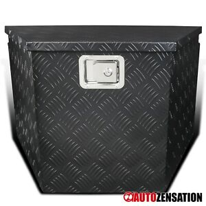 "29"" Heavy Duty Black Aluminum Tool Box Truck Storage Trailer Tongue w/ Lock"