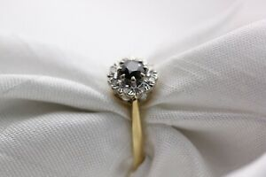 18ct Gold Sapphire & Diamond Cluster Size M 3.1g Ring - 0355056