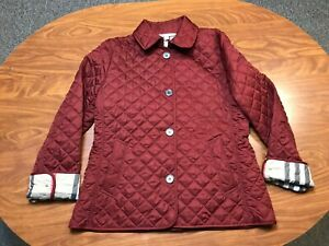 WOMEN USED LIGHTLY WORN BURBERRY BRIT REDDISH ORANGE BUTTON QUILTED JACKET LARGE