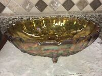 """Vintage Iridescent Amber INDIANA Carnival Glass Footed Bowl Autumn Harvest 12.5"""""""