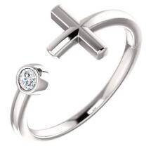 14K White Gold Bezel Set Diamond Negative Space Cross Ring Size 7