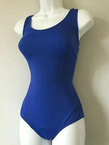 Ladies Plain Scoop Back Swimsuit - Padded Control Swimming Costume Womens New
